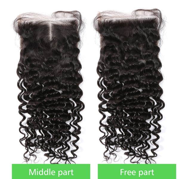 8 28 30 Inch Deep Wave Bundles With Closure Brazilian Remy Curly 100 Human Hair Water 5 8-28 30 Inch Deep Wave Bundles With Closure Brazilian Remy Curly 100% Human Hair Water Wave 3 4 Bundles Weave And Lace Closure
