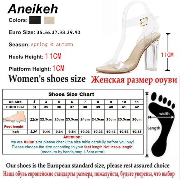 Aneikeh 2020 PVC Jelly Sandals Crystal Open Toed High Heels Women Transparent Heel Sandals Slippers Pumps 5 Aneikeh 2020 PVC Jelly Sandals Crystal Open Toed High Heels Women Transparent Heel Sandals Slippers Pumps 11CM Big Size 41 42