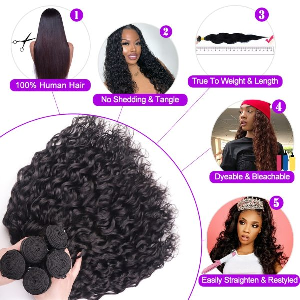 AngelGrace Hair Water Wave Bundles With Closure Remy Human Hair 3 Bundles With Closure Brazilian Hair 3 AngelGrace Hair Water Wave Bundles With Closure Remy Human Hair 3 Bundles With Closure Brazilian Hair Weave Bundles With Closure