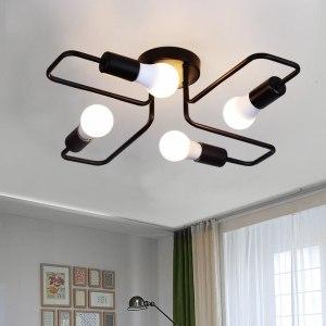 DAR 4 6 Light Retro Wrought Iron Ceiling Lights Bedroom Dining Room Vintage Black Ceiling Lamp Innrech Market.com