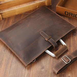 Joyir 2019 Crazy horse leather briefcase for man coffee color vintage men genuine leather messenger bag Innrech Market.com