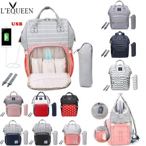 LEQUEEN Fashion USB Mummy Maternity Diaper Bag Large Nursing Travel Backpack Designer Stroller Baby Bag Baby Innrech Market.com