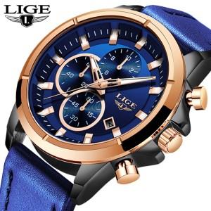 LIGE Casual Sports Watches For Men Blue Top Brand Luxury Military Leather Wrist Watch Man Clock Innrech Market.com