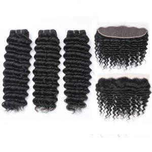 MQYQ Deep Wave Bundles With Frontal Remy Malaysian Human Hair Bundles With Closure Hair Weave 3 Innrech Market.com