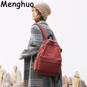 Menghuo Women Canvas Backpack Solid Casual School Bag for Teenagers Boys Backpack Korean Preppy Style Rucksack Innrech Market.com