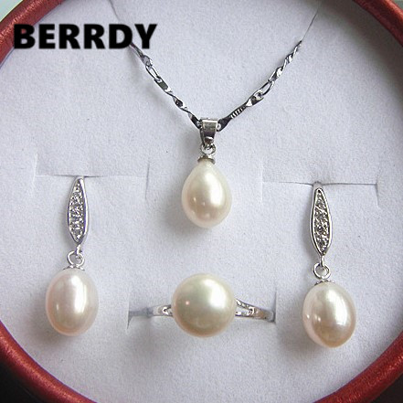 Natural Pearl Jewelry Set Hot Bridal Wedding Jewelry Set Necklace Earrings Ring Set for Women Natural Pearl Jewelry Set Hot Bridal Wedding Jewelry Set Necklace Earrings Ring Set for Women