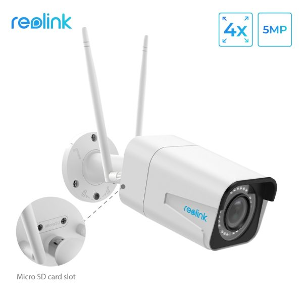 Reolink Security Camera 5MP Bullet WiFi IP Camera 2 4G 5G HD 4x Optical Zoom Built Reolink Security Camera 5MP Bullet WiFi IP Camera 2.4G/5G HD 4x Optical Zoom Built-in SD Card Slot Night vision RLC-511W