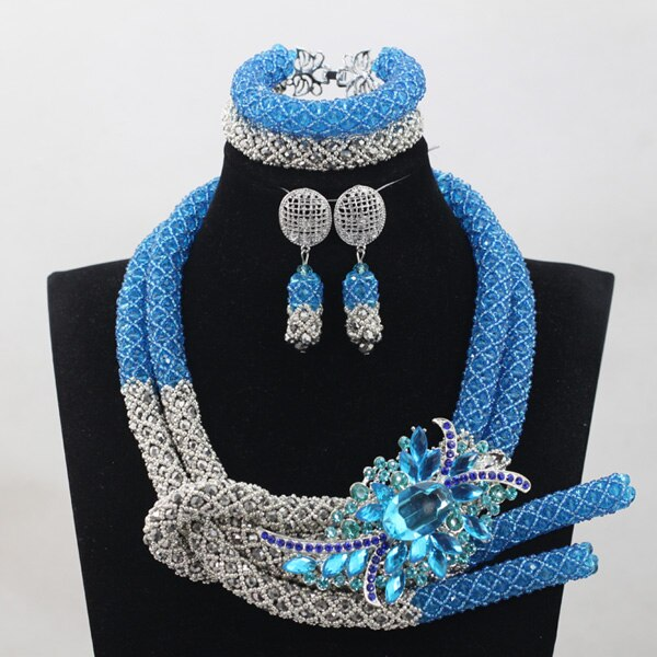 Sky Blue Silver African Chunky Beads Jewelry Sets Fashion Nigerian Wedding Jewelry Sets Women New Free 1 Sky Blue Silver African Chunky Beads Jewelry Sets Fashion Nigerian Wedding Jewelry Sets Women New Free Shipping WD924