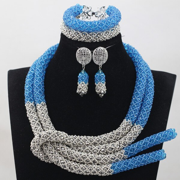 Sky Blue Silver African Chunky Beads Jewelry Sets Fashion Nigerian Wedding Jewelry Sets Women New Free 4 Sky Blue Silver African Chunky Beads Jewelry Sets Fashion Nigerian Wedding Jewelry Sets Women New Free Shipping WD924
