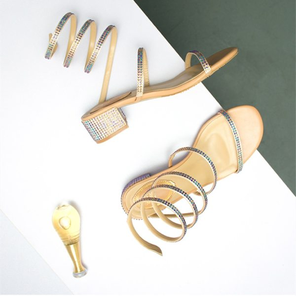 Summer Women Sandals 2019 Fashion Sexy Rhinestone Mid Heel Tied Party Breathable Comfort Shopping Woman Walking Summer Women Sandals 2019 Fashion Sexy Rhinestone Mid Heel Tied Party Breathable Comfort Shopping Woman Walking Casual Shoes