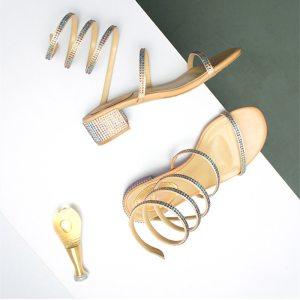 Summer Women Sandals 2019 Fashion Sexy Rhinestone Mid Heel Tied Party Breathable Comfort Shopping Woman Walking Innrech Market.com