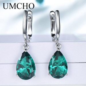 UMCHO Created Green Emerald Gemstone Clip Earrings for Women Solid 925 Sterling Silver Anniversary Wedding Party Innrech Market.com