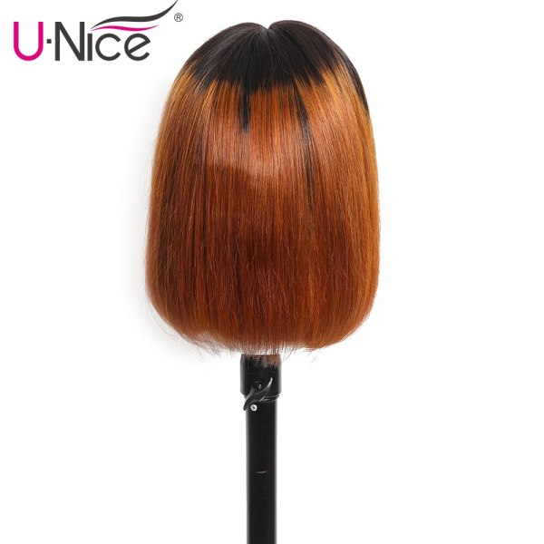 Unice Hair 13 4 Straight Bob Ombre T1B30 Human Hair Wigs 8 14 Inch Pre Plucked 2 Unice Hair 13*4 Straight Bob Ombre T1B30 Human Hair Wigs 8-14 Inch Pre Plucked Remy Hair Lace Front Wig
