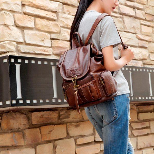 2018 High Quality Women Backpack Vintage Backpacks For Teenage Girls Fashion Large School Bags PU Leather 4 High Quality Women Backpack Vintage Backpacks For Teenage Girls Fashion Large School Bags PU Leather Black Mochila Feminina