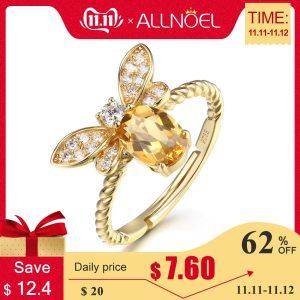 ALLNOEL Fine Jewelry Rings 925 Sterling Silver Natural Gemstone Citrine Bee Engagement Ring Set Wedding Silver Innrech Market.com