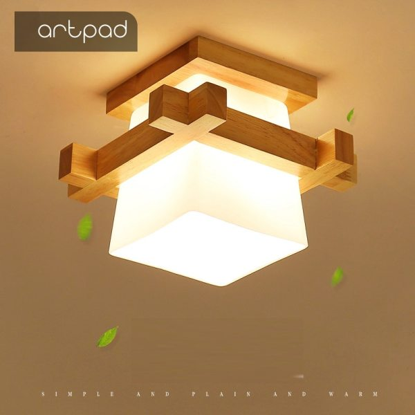 Artpad Tatami Japanese Ceiling Light for Home Lighting Glass Lampshade E27 LED Ceiling Lamp Wood Base Lamp Shades | Glass Lamp Shades | Tatami Japanese Ceiling Light for Home Lighting E27 LED Ceiling Lamp Wood Base Hallways Porch Fixtures