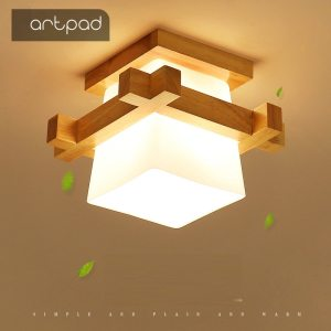 Artpad Tatami Japanese Ceiling Light for Home Lighting Glass Lampshade E27 LED Ceiling Lamp Wood Base Innrech Market.com