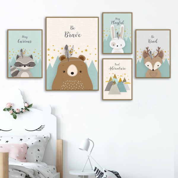 Bear Rabbit Fox Deer Nursery Wall Art Canvas Painting Cartoon Nordic Posters And Prints Wall Pictures 2 Bear Rabbit Fox Deer Nursery Wall Art Canvas Painting Cartoon Nordic Posters And Prints Wall Pictures Girl Boy Kids Room Decor