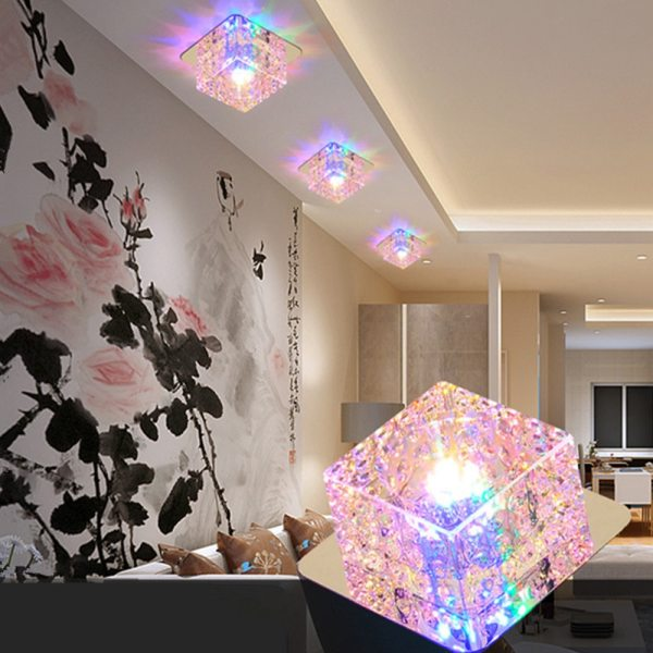 LED Ceiling Light Surface Mounted Crystal Aisle Lamp Lustre Modern Ceiling Lamp For Living Room Indoor 1 LED Ceiling Lights | Light Surface | Surface Mounted Crystal Aisle Lamp Lustre Modern Ceiling Lamp For Living Room Indoor Bedroom Corridor Entrance Power 3W