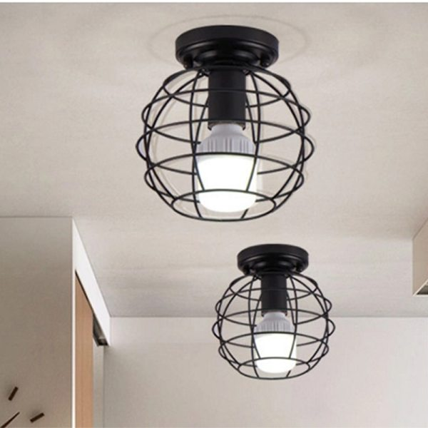 Modern nordic black wrought iron E27 led ceiling lamps for kitchen living room bedroom study balcony 4 Modern nordic black wrought iron E27 led ceiling lamps for kitchen living room bedroom study balcony porch restaurant cafe hotel