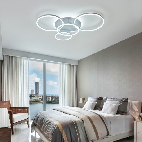 NEO Gleam 2 3 5 6 Circle Rings Modern led ceiling Lights For living Room Bedroom 3 Circular Ceiling Light | Circular Light Bulb | NEO Gleam 2/3/5/6 Circle Rings Modern led ceiling Lights For living Room Bedroom Study Room White/Brown Color ceiling Lamp led circle light, circle light, ring ceiling light