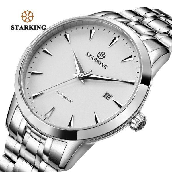 STARKING Mens Clock Automatic Mechanical Watch All Stainless Steel Simple Business Male Watch xfcs Luxury Brand STARKING Mens Clock Automatic Mechanical Watch All Stainless Steel Simple Business Male Watch xfcs Luxury Brand Dress WristWatch