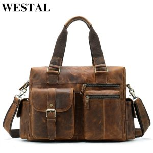 WESTAL men s briefcase leather laptop bag men shoulder bag male briefcases handbags office bags for Innrech Market.com