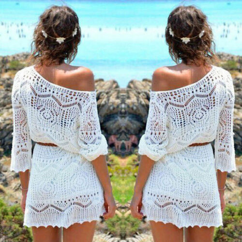Women Ladies Lace Crochet Casual Dress Summer Clothes Cover Up Swimwear Bathing Suit Summer Swimwear 2 Women Ladies Lace Crochet Casual Dress Summer Clothes Cover Up Swimwear Bathing Suit Summer Swimwear