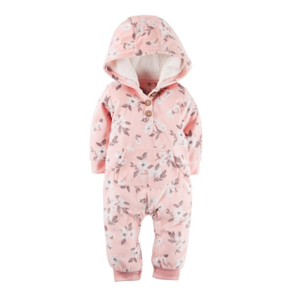 2018 New Bebes Clothes Newborn One Piece Fleece Hooded Jumpsuit Long Sleeved Spring Baby Girls Boys 2 2018 New Bebes Clothes Newborn One Piece Fleece Hooded Jumpsuit Long Sleeved Spring Baby Girls Boys Body Suits Romper