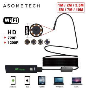 2019 WIFI Endoscope Borescope For Android IOS Iphone Endoscope Mini Waterproof Camera 8LED 8MM Hard Cable Innrech Market.com