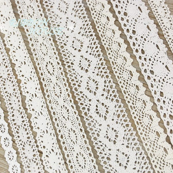 5Meter roll White Beige Cotton Embroidered Lace Net Ribbons Fabric Trim DIY Sewing Handmade Craft (5Meter/roll) White Beige Cotton Embroidered Lace Net Ribbons Fabric Trim DIY Sewing Handmade Craft Materials
