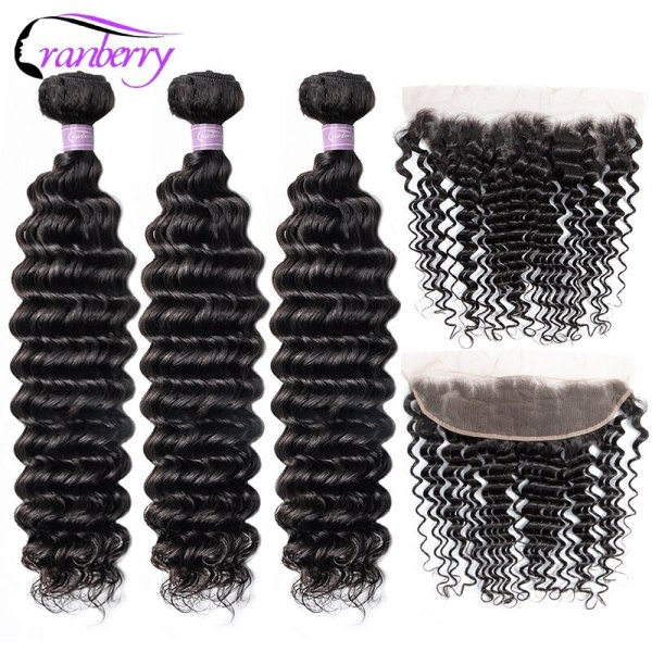 """CRANBERRY Hair Deep Wave Bundles With Frontal 8 26 M Peruvian Hair Bundles With Closure Remy CRANBERRY Hair Deep Wave Bundles With Frontal 8""""-26"""" M Peruvian Hair Bundles With Closure Remy Human Hair Bundles With Closure"""