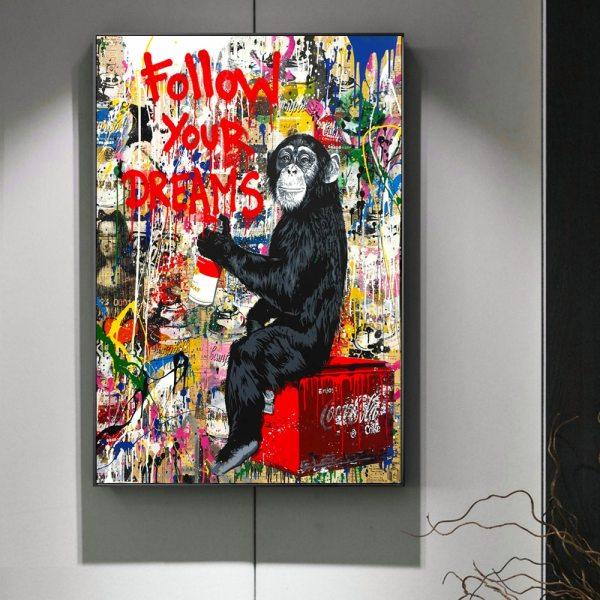 Follow Your Dreams Street Wall graffiti Art Canvas Paintings Abstract Einstein Pop Art Canvas Prints For Follow Your Dreams Street Wall graffiti Art Canvas Paintings Abstract Einstein Pop Art Canvas Prints For Kids Room Cuadros Decor