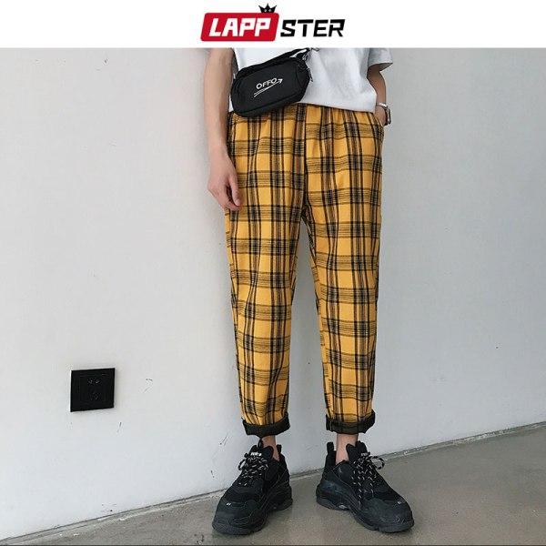 LAPPSTER Streetwear Yellow Plaid Pants Men Joggers 2019 Man Casual Straight Harem Pants Men Korean Hip LAPPSTER Streetwear Yellow Plaid Pants Men Joggers 2019 Man Casual Straight Harem Pants Men Korean Hip Hop Track Pants Plus Size