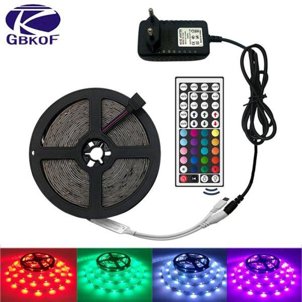 LED Strip Light RGB 5050 SMD 2835 Flexible Ribbon fita led light strip RGB 5M 10M LED Strip Light RGB 5050 SMD 2835 Flexible Ribbon fita led light strip RGB 5M 10M 15M Tape Diode DC12V 60LEDs 1M+Control+Adapter