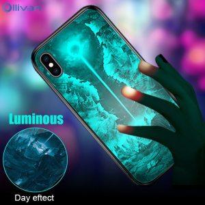 Luminous Glass Case For Xiaomi RedMi 6 Pro Note 8 7 5 Pro Tempered Glass Protective Innrech Market.com