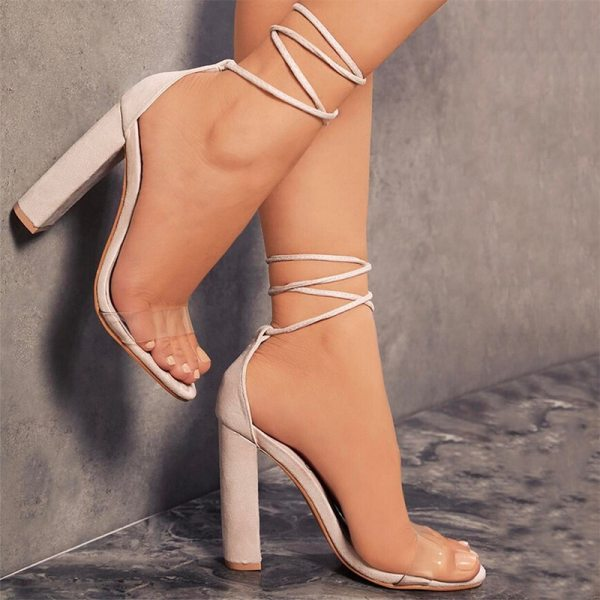Summer Women High Heels Shoes T stage Transparent Sandals Sexy Square Heel Pump Female Cover Heel 2 Summer Women High Heels Shoes T-stage Transparent Sandals Sexy Square Heel Pump Female Cover Heel Party Wedding Ladies Plus Size