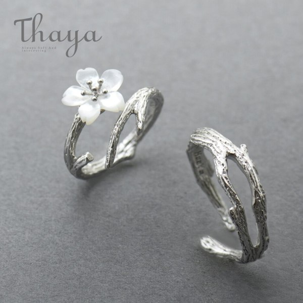 Thaya White Cherry Blossom Silver Ring s925 Silver Natural Pearl Shell Flower Branch Rings for Women Thaya White Cherry Blossom Silver Ring s925 Silver Natural Pearl Shell Flower Branch Rings for Women Elegant Ladies Jewelry
