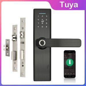 Wifi Tuya APP Electronic Door Lock Biometric Fingerprint 13 56mhz IC Card Password Mobile Phone Unlock Innrech Market.com