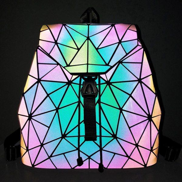 Women Backpack Luminous Geometric Plaid Sequin Female Backpacks For Teenage Girls Bagpack Drawstring Bag Holographic Backpack 3 Women Backpack Luminous Geometric Plaid Sequin Female Backpacks For Teenage Girls Bagpack Drawstring Bag Holographic Backpack