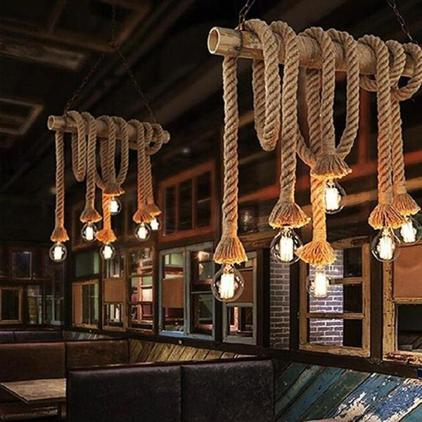 1M Vintage Rustic Hemp Rope Ceiling Chandelier Wiring E27 220V Pendant Lamp Hanging Lights for Living 1M Vintage Rustic Hemp Rope Ceiling Chandelier Wiring E27 220V Pendant Lamp Hanging Lights for Living Room Bar Decor