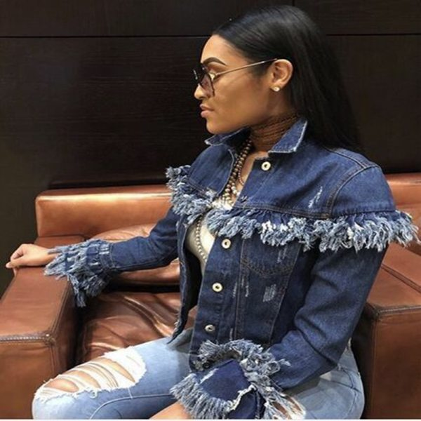 Autumn Winter Women Tassel Denim Jacket 2018 Harajuku boyfriend Wind Jean Jacket Loose Long Sleeve Female 2 Autumn Winter Women Tassel Denim Jacket 2018 Harajuku boyfriend Wind Jean Jacket Loose Long Sleeve Female Coat Streetwear Female