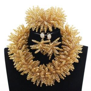 Exclusive Champagne Gold Gothic Crystal Beads Necklace Jewelry Set Big Heavy Women Jewelry Set Nigerian Wedding Innrech Market.com