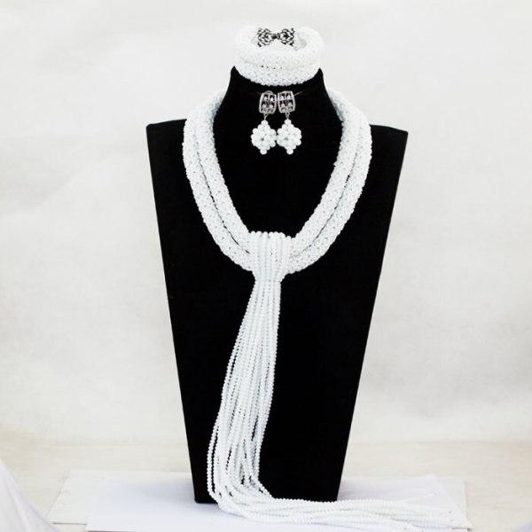 Fantastic White African Wedding Nigerian Beads Jewelry Set Crystal Bridal Fashion Jewelry Set 2017 Free Shipping 1 Fantastic White African Wedding Nigerian Beads Jewelry Set Crystal Bridal Fashion Jewelry Set 2017 Free Shipping WA183
