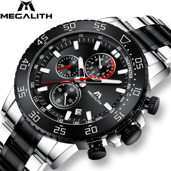 MEGALITH Military Watches Men Stainless Steel Band Waterproof Quartz Wristwatch Chronograph Clock Male Fashion Sports Watch MEGALITH Military Watches Men Stainless Steel Band Waterproof Quartz Wristwatch Chronograph Clock Male Fashion Sports Watch 8087