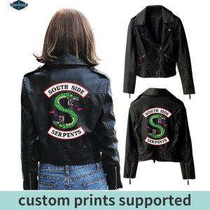 New Riverdale PU Printed Logo Southside Riverdale Serpents Jackets Women Riverdale Serpents Streetwear Leather Jacket Custom Innrech Market.com