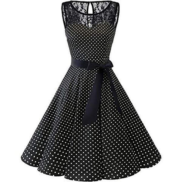 Sleeper 401 2018 Women Sleeveless Polka Dot Lace Hepburn Vintage Swing High Waist Pleated Dress solid 4 Sleeper #401 2018 Women Sleeveless Polka Dot Lace Hepburn Vintage Swing High-Waist Pleated Dress solid design hot Drop Shipping