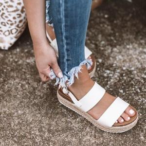 Summer Leopard Sandals High Heels Wedges PU Platform Women Sandals Buckle Strap Comfort Casual Ladies Shoes Innrech Market.com