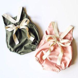 0 24M Newborn Kid Baby Girl Clothes Summer Bowknot Backless Romper Casual plain Outfits Infantil Clothing Innrech Market.com