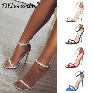 DEleventh Classics Sexy Women Red Wedding Shoes Peep Toe Stiletto High Heels Shoes Woman Sandals Black Innrech Market.com